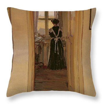 The Kitchen Throw Pillow by Harold Gilman