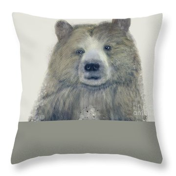 Throw Pillow featuring the painting The Kodiak Bear by Bri B