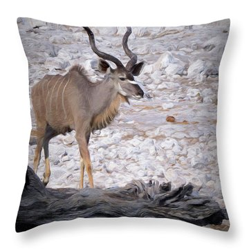 The Kudu In Namibia Throw Pillow by Ernie Echols