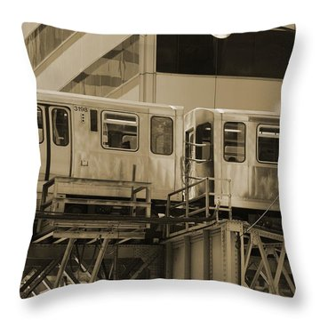 The L Downtown Chicago In Sepia Throw Pillow