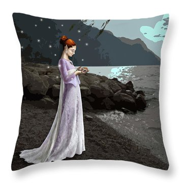 The Lady And The Kitty Throw Pillow