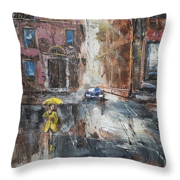The Lady In Yellow Throw Pillow