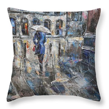The Lady In Blue Throw Pillow