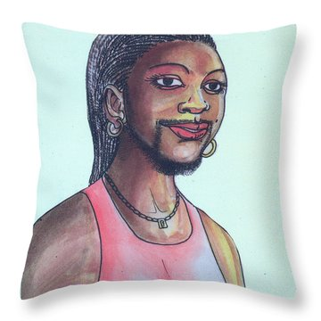 The Lady With A Beard Throw Pillow by Emmanuel Baliyanga