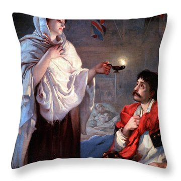 The Lady With The Lamp, Florence Throw Pillow by Science Source