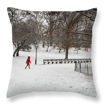 The Lady With The Red Coat Throw Pillow