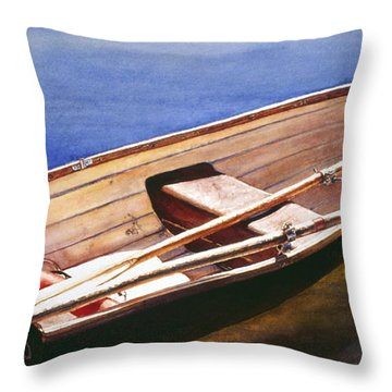 The Lake Boat Throw Pillow
