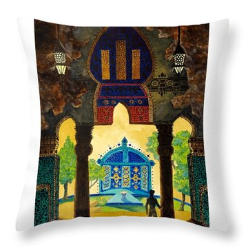 The Lamp's Garden Throw Pillow