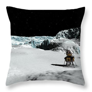 Throw Pillow featuring the digital art The Lander Ulysses On Europa by David Robinson