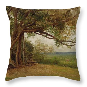 The Landing Of Columbus Throw Pillow by Albert Bierstadt