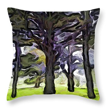 The Landscape With The Trees In A Row Throw Pillow