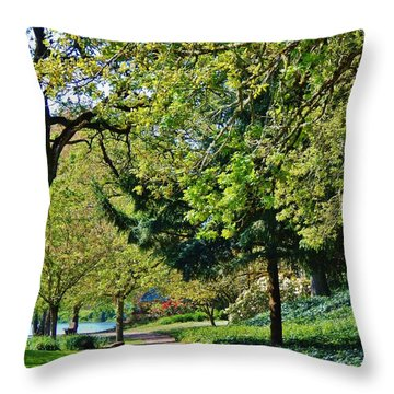 The Lane At Waverly Pond Throw Pillow by VLee Watson
