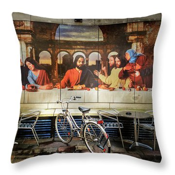 Throw Pillow featuring the photograph The Last Bicycle Discussion by Craig J Satterlee
