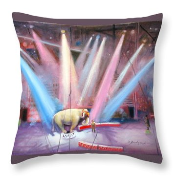 Throw Pillow featuring the painting The Last Circus Elephant by Oz Freedgood