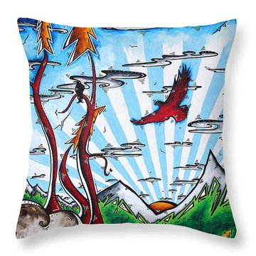 The Last Frontier Original Madart Painting Throw Pillow by Megan Duncanson
