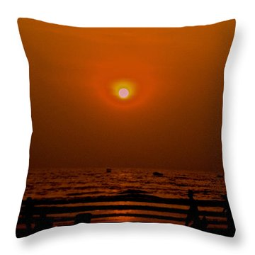 Throw Pillow featuring the photograph The Last Rays by Sher Nasser