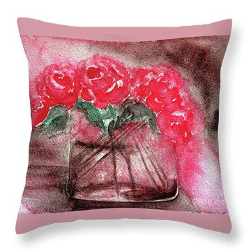 The Last Red Roses Throw Pillow