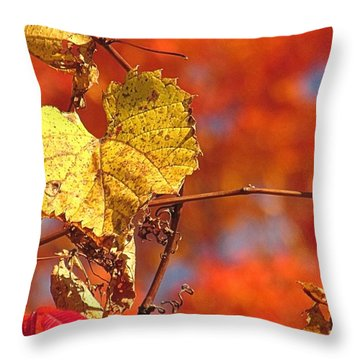 The Last Yellow Leaves Throw Pillow