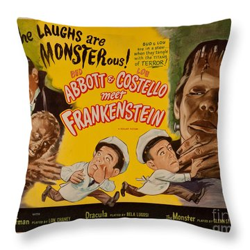 The Laughs Are Monsterous Abott An Costello Meet Frankenstein Classic Movie Poster Throw Pillow