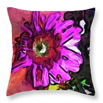 The Lavender Flower Above The Yellow Flower Throw Pillow