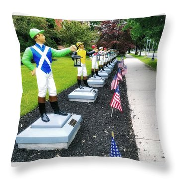 The Lawn Jockeys Of Saratoga Springs Throw Pillow