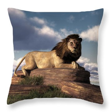 The Lazy Lion Throw Pillow by Daniel Eskridge