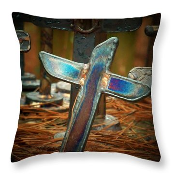 The Leaning Cross Throw Pillow by Deborah Montana