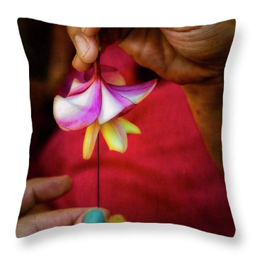 The Lei Maker's Hands Throw Pillow