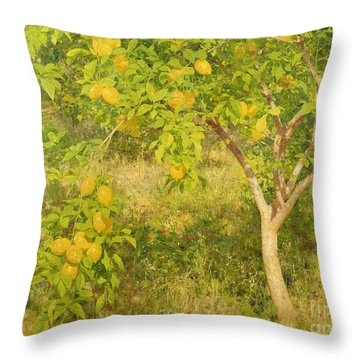 The Lemon Tree Throw Pillow by Henry Scott Tuke