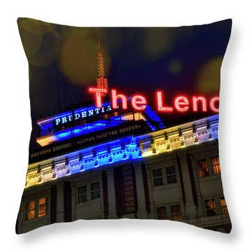 Throw Pillow featuring the photograph The Lenox And The Pru - Boston Marathon Colors by Joann Vitali