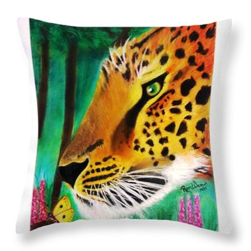 The Leopard And The Butterfly Throw Pillow