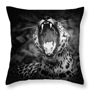 The  Leopard's Tongue Rolling Roar Throw Pillow