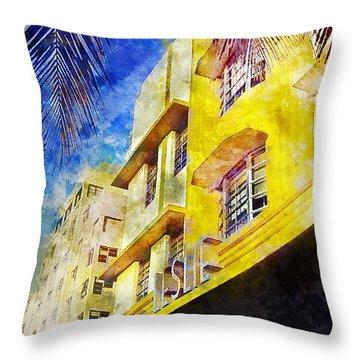 The Leslie Hotel South Beach Throw Pillow by Jon Neidert
