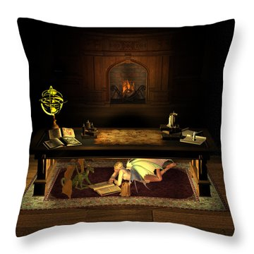 The Library . . . Throw Pillow by David Griffith