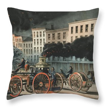 The Life Of A Fireman, The Metropolitan System, 1866 Throw Pillow