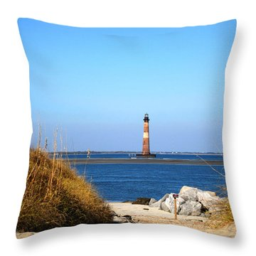 The Lighhouse At Morris Island Charleston Throw Pillow