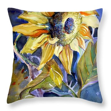 The Light Of Sunflowers Throw Pillow by Mindy Newman