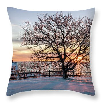 The Lighthouse And Tree Throw Pillow