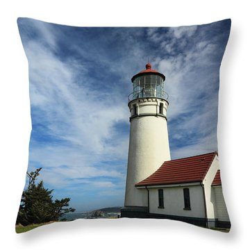 The Lighthouse At Cape Blanco Throw Pillow