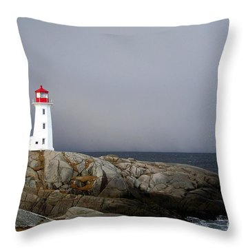 The Lighthouse At Peggys Cove Nova Scotia Throw Pillow by Shawna Mac