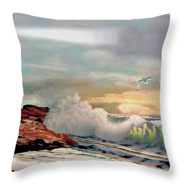 The Lighthouse At Portland Head Throw Pillow