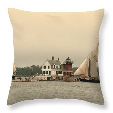 The Lighthouse At Rockland Throw Pillow