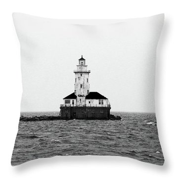 The Lighthouse Black And White Throw Pillow