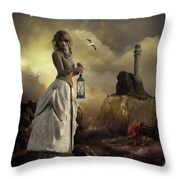 Throw Pillow featuring the digital art The Lighthouse Keeper's Daughter by Shanina Conway