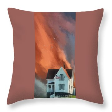 The Lighthouse Keeper's House Throw Pillow by Lois Bryan
