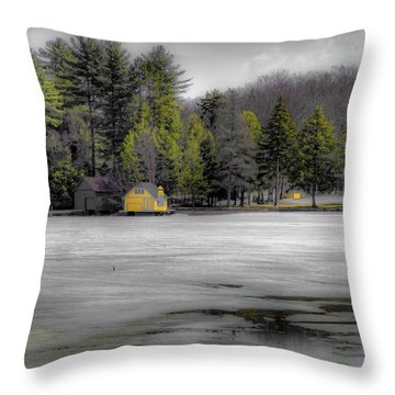 Throw Pillow featuring the photograph The Lighthouse On Frozen Pond by David Patterson