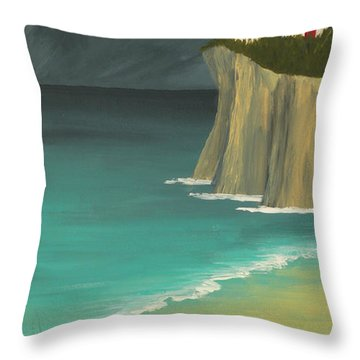 The Lighthouse On The Cliff Throw Pillow