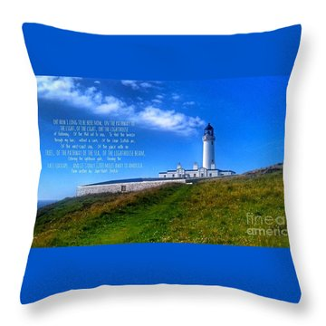 The Lighthouse On The Mull With Poem Throw Pillow