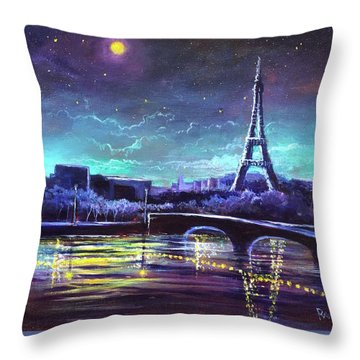 The Lights Of Paris Throw Pillow by Randy Burns
