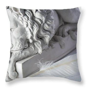 The Lion And The Feather Throw Pillow